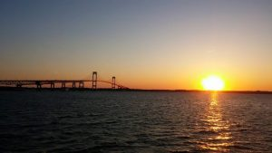 Sunset from Newport Officers' Club - photo credit Walmsley Marine