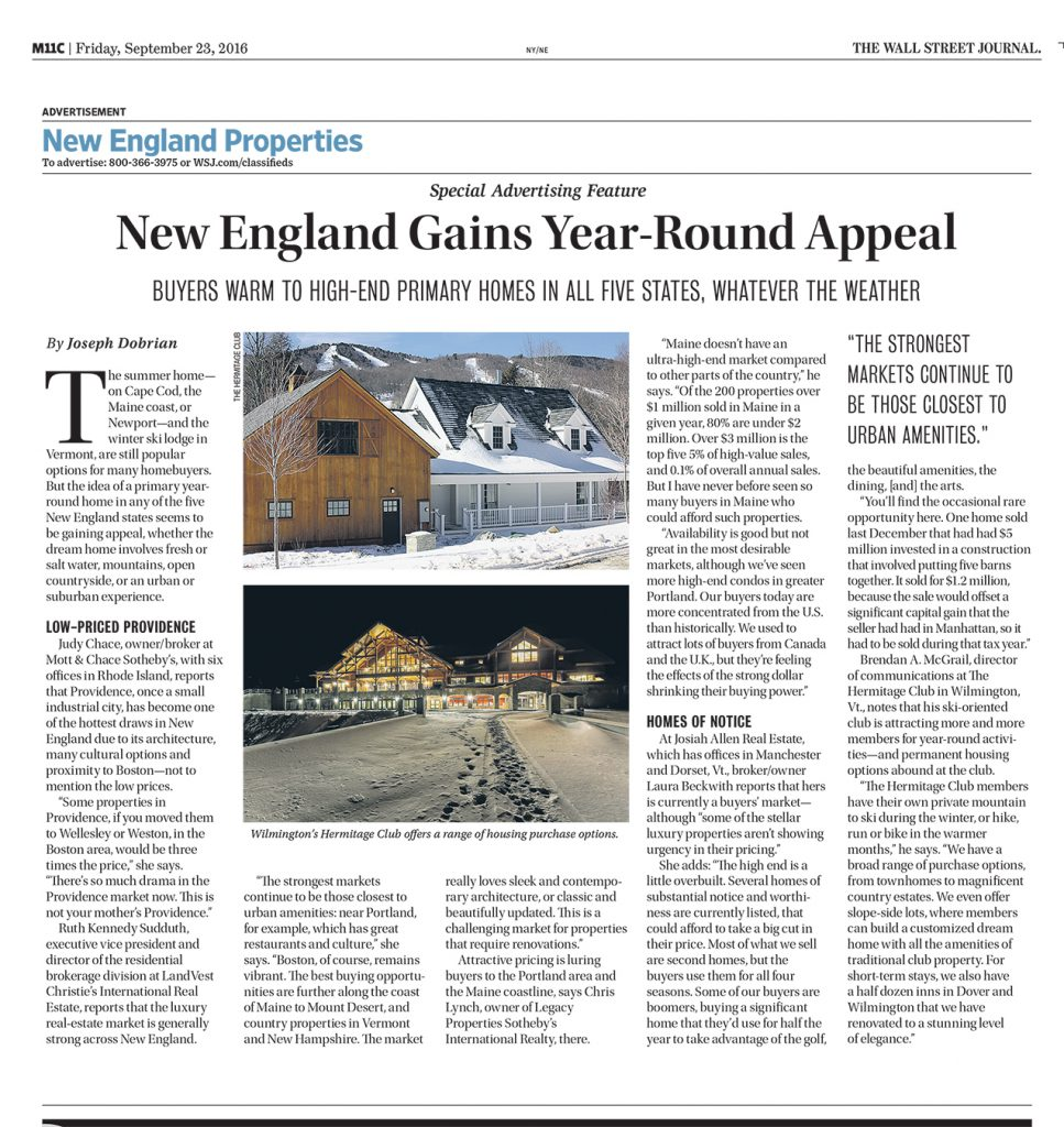 Featured in the New England Properties section of The Wall Street Journal